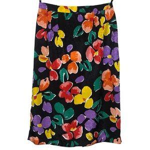 Vintage Floral Midi Zipper Skirt Size 6/28